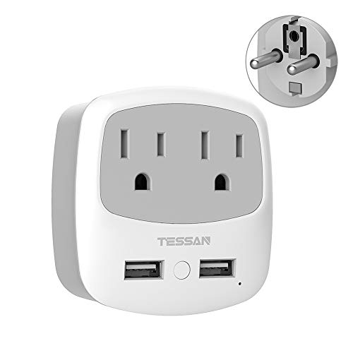 Germany France Travel Power Adapter,TESSAN Schuko Plug with 2 USB Ports 2 American Outlets, USA to Europe German Spain Iceland Russia Adaptor(Type E/F)