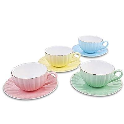 AWHOME Tea Cup and Saucer Set Royal Style Elegant Fine Porcelain 8 oz/Set of 4 (4 Color)