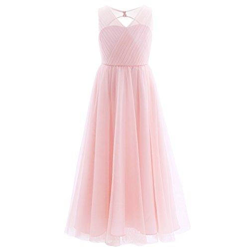 Freebily Mädchen Kleid lang festlich Prinzessin Kleid Hochzeit Blumenmädchen Kleider Brautjungferkleid Festzug Partykleid Abendkleid Karneval Rosa 152