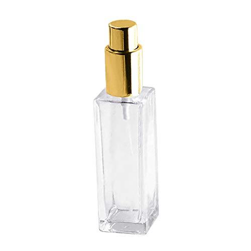 P12cheng Flacons de Parfum Rechargeables en Verre Transparent 30/50 ML, Verre, doré, 50 ML