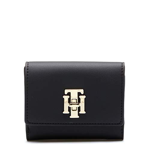 Tommy Hilfiger Damen Th Lock Med Flap Wallet Geldbörse, Schwarz (Black), 4x10x13 centimeters