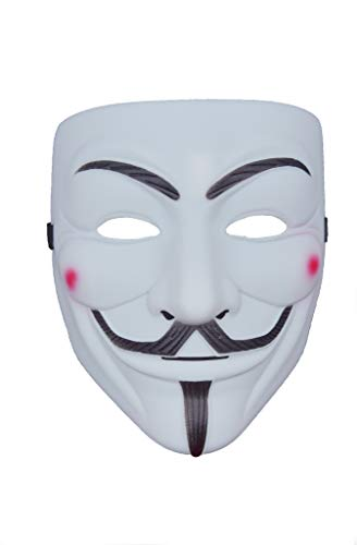 VintageⅢ 2018 New V for Vendetta mask with Nostril Eyeliner Halloween mask Anonymous Guy Fawkes Fancy mask (white1)