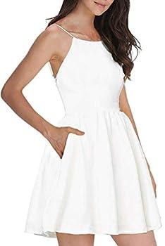 FANCYINN Womens White Short Dress Spaghetti Straps Backless Mini Skater Juniors Dresses White S