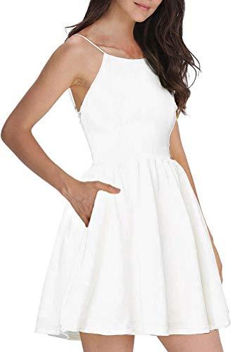 FANCYINN Damen Sommerkleid Armellos Spaghetti-Armband Kleider Elegant Rückenfreies Kurze Kleid Minikleid Weiß S(34-36)