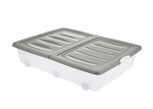 BigDean Unterbettkommode Grau 60L Unterbettbox mit Rollen Rädern Rollbox Spielzeugkiste