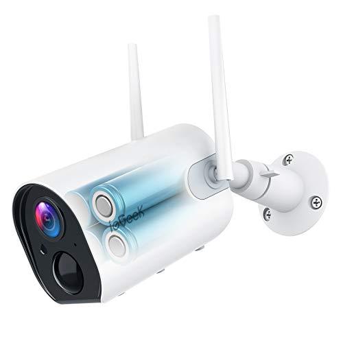 ieGeek Überwachungskamera Aussen Akku 10400mAh, 1080P Kabellose Outdoor WLAN IP Kamera mit PIR Bewegungsmelder, IR Nachtsicht, IP65 Wasserdich, 2-Wege Audio, Cloud/SD Storage, Push Alarme