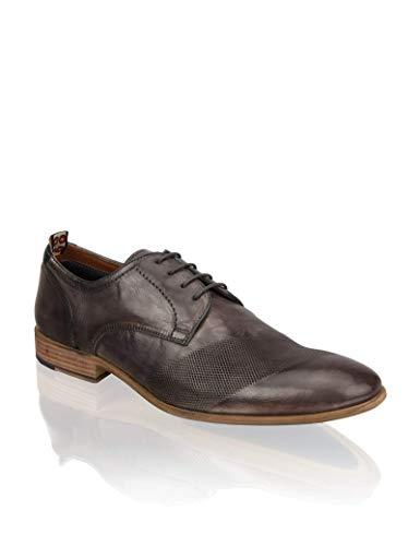 PAT CALVIN Schuhe Herren aus feinem Leder, zeitlos eleganter Brogue Schnürhalbschuh in grau mit Detailprägung 41 EU