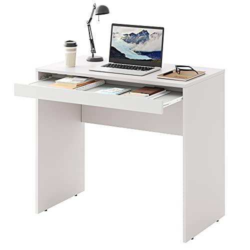 DEVAISE パソコンデスク デスク 机 キーボードスライダー付き 幅85*奥行45*高さ74.5cm コンパクト 木製 組立簡単 ホワイト ORASZ601WH