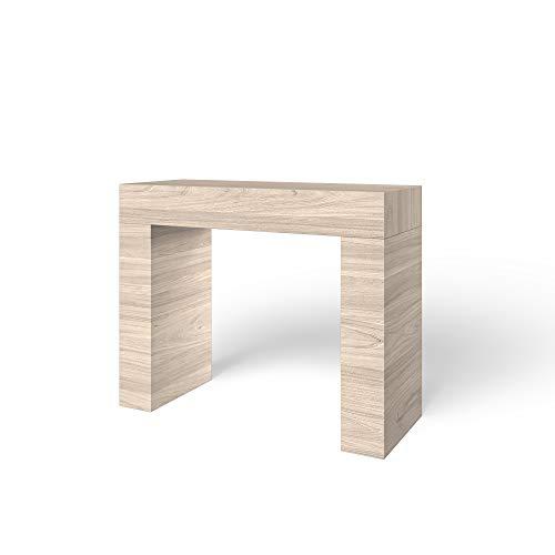 Tavolo Consolle In Legno, Tavolo Salvaspazio Fisso, Design Arequipa Moderno Ed Elegante, Consolle Per Casa Ingresso Ufficio, 110 x 40 x 80 cm, (Olmo Perla)