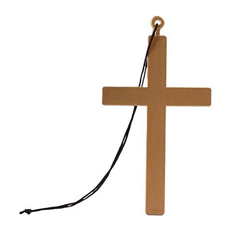 Boland 00535 - Halskette Kreuz, Größe 45 cm, Gold-Schwarz, Priester, Pfarrer, Bischof, Accessoire, Kostüm, Verkleidung, Karneval, Fasching, Mottoparty, Zubehör, Halloween