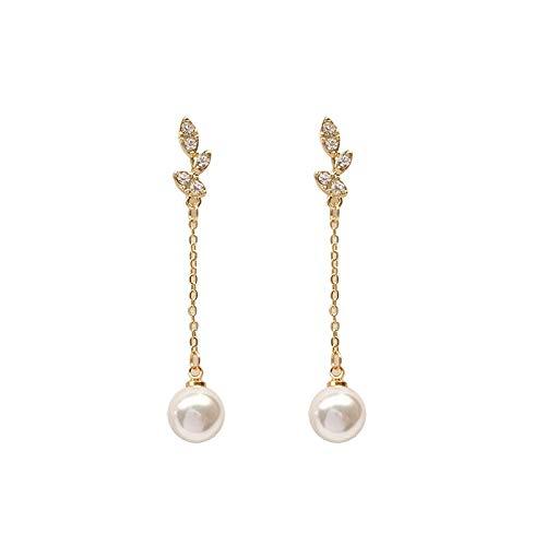 Xlin S925 Silver Silver Hojas Pendientes Simples De Diamante Completo Pendientes Largos Pendientes De Perlas (Color : Ear Studs)