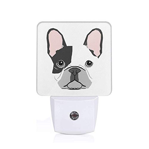 Cartoon French Bulldog Print Led Smart/Automatic Dusk to Dawn Sensor Night Light (Plug-in) for Adult Indoor Bedroom Bathroom Decorative
