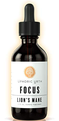 Uphoric Urth Lions Mane Extract - Double Extracted Fruitbody Mushroom Tincture, Natural Support for Mental Clarity, Brain Function, Memory, Cell Regeneration, Creativity & Mood (60 Servings)