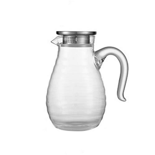 QAX Jarra de agua de cristal con tapa de acero inoxidable y asa para agua caliente/fría, té de limón y zumo de bebidas