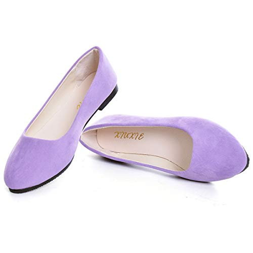 SAILING LU Pointy Toe Shoes Women Solid Ballet Flats Comfort Solid Flat Shoes for Work Slip On Moccasins Light Purple Size 8