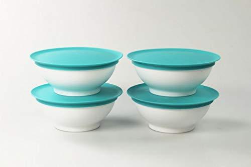 Tupperware Allegra - Cuencos de postre (275 ml, 4 unidades), color turquesa claro y blanco