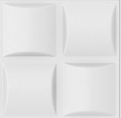 Polystyrene Decorative Foam 3D Wall/Ceiling Tiles Panels'Pled' White (4 sq/m (16 Tiles))