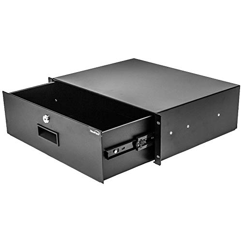 NavePoint Rack Mount Drawer for 19-Inch Server Cabinet Case Or DJ with Lock and Key 3U Black