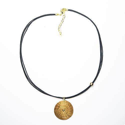 Collar Dorado Mandala Colgante Redondo en Oro Vegetal