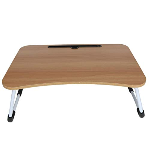 Laptop Bed Table,Portable Lap Desk,Notebook Stand Reading Holder,Notebook Table Dorm Desk with Foldable Legs & tablet Slot,for Eating Breakfast,Reading,Watching Movie on Bed/Sofa (Brown)