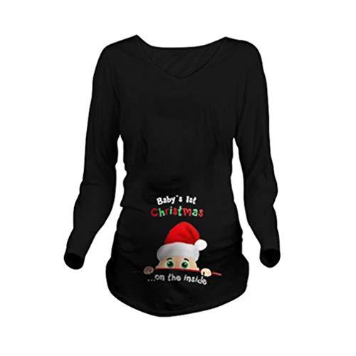Mxssi Baby 1ST Weihnachten Langarm Mutterschaft T-Shirt Schwangerschaft T-Shirt Mama Lustige Bluse