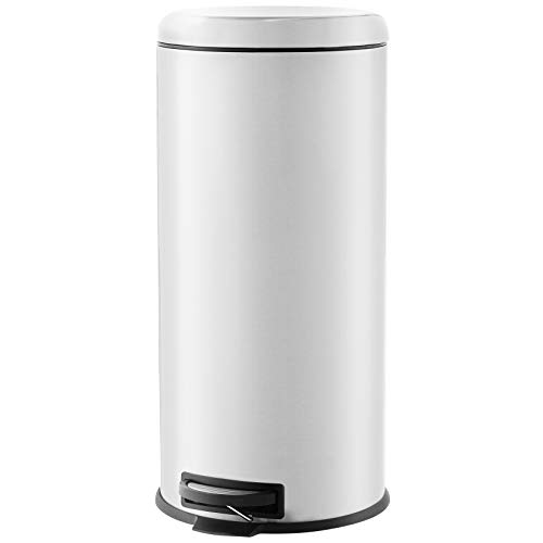 AmazonBasics round pedal trash bin, Stainless Steel, 30L