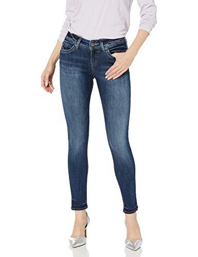 Silver Jeans Co. Women's Suki Curvy Fit Mid Rise Super Skinny Jeans, Dark Sandblast Wash, 29 X 29