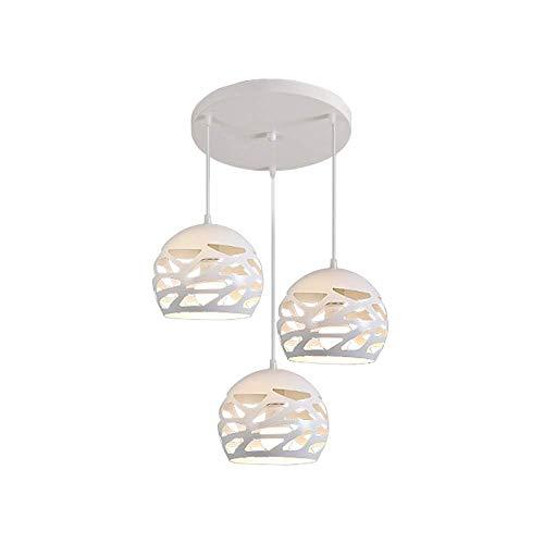 QLIGAH 3 Luces Base Redonda Spherical Hollow Colgante de iluminación Arte de Hierro Colgante Lámpara Moderna