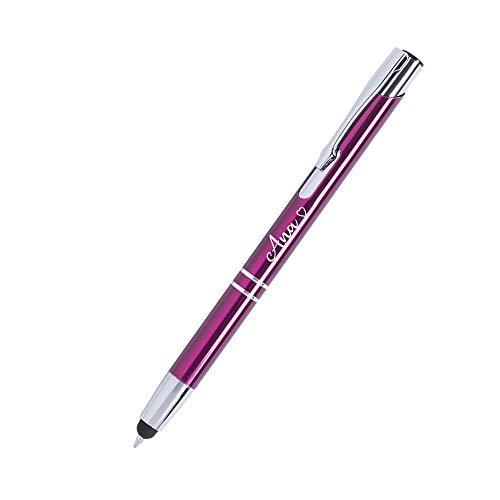 Bolígrafo BRILA para Regalar Personalizado (Nombre o Texto) · Boligrafos Elegantes con cuerpo en Aluminio color Fucsia y Mecanismo Pulsador