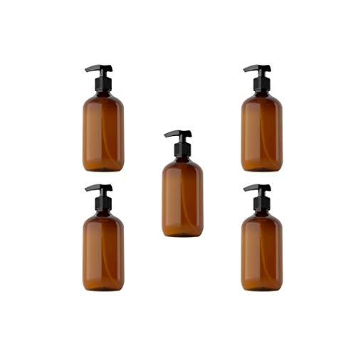 Beaupretty 5 Piezas de Botellas de Bomba de Plástico Vacías Dispensadores de Loción de Champú Recargables para Home Hotel SPA 300 Ml (Ámbar)
