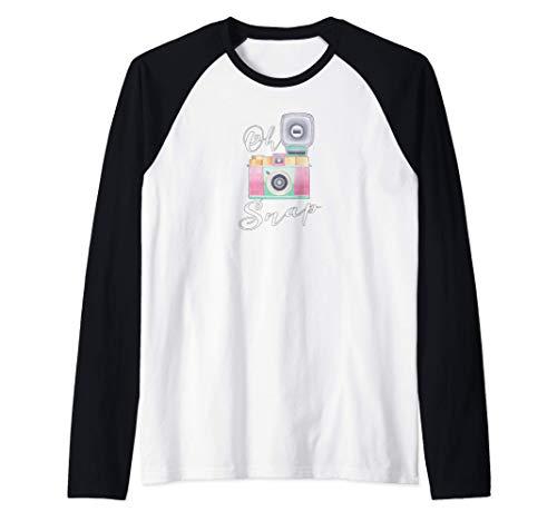 Fotografía Divertida Oh Snap Vintage Cámara Camiseta Manga Raglan