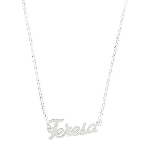 Córdoba Jewels | Gargantilla de Plata de Ley con diseño Teresa Silver de 28x10mm.Largo 40cm.con Cadena para Ajustar.