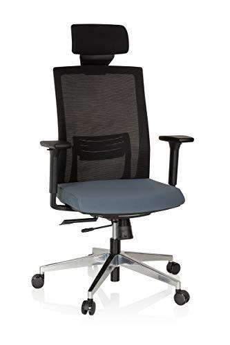 hjh OFFICE 732103 Profi Drehstuhl Captiva Stoff Schwarz/Grau Schreibtischstuhl mit Top-Ausstattung, Netzrücken