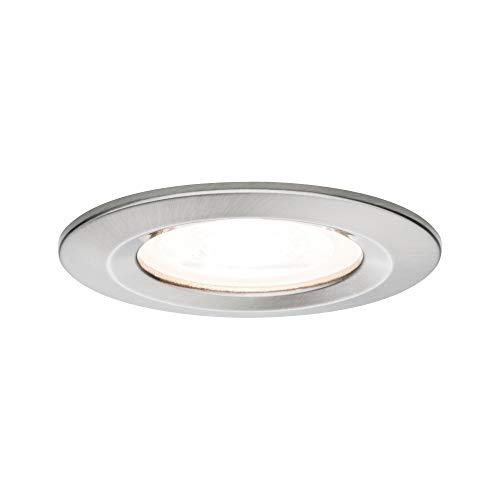 Paulmann 93599 Luminaria empotrable LED Nova, foco empotrable redondo, foco de techo 3x7 W, lámpara empotrable GU10, foco, acero, regulable IP44 resistente a salpicaduras de agua