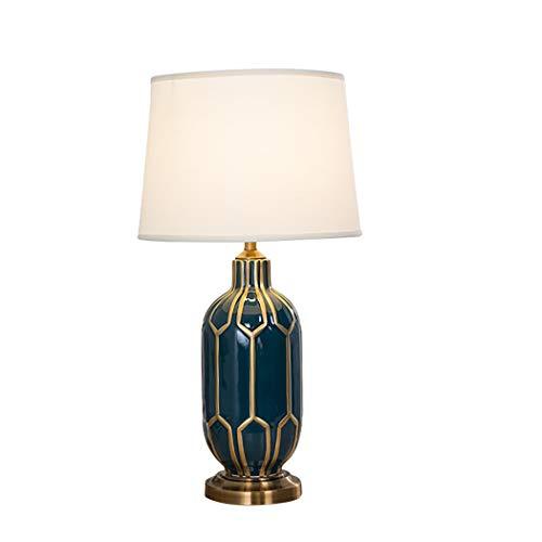 Lámpara de mesaLámpara de mesa de cerámica, artículos para el hogar E27 Pequeño EDISON Tornillo Bulbus Lámpara de mesa de cerámica con sombra de tela,