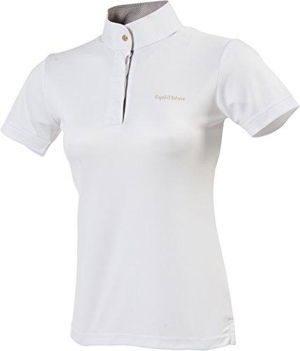 Equi-Theme/Equit'm 987006136 Damen Poloshirt, Mesh, kurzärmlig, weiß/gestreift, braun/weiß Kontraste, Einheitsgröße