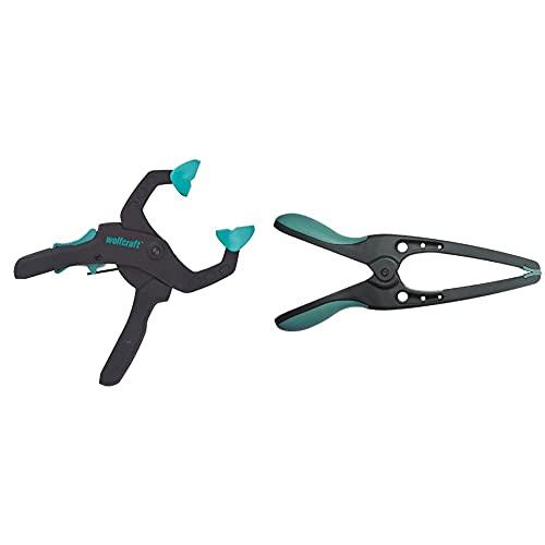 Wolfcraft 3615000 3615000-1'FZR 40' Pinza de sujeción de carraca, Azul, 40 mm + 3633000 MT 70 pinza de precisión con resorte 70 mm