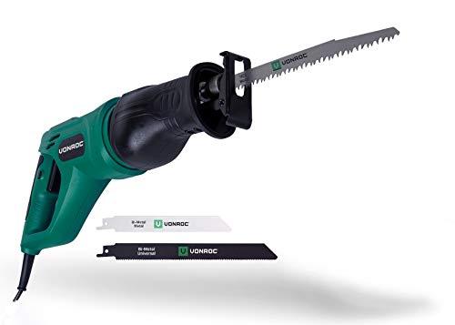VONROC Säbelsäge 900 W - Drehbarer Griff - Aufbewahrungstasche und 3 Sägeblätter für Holz und Metall