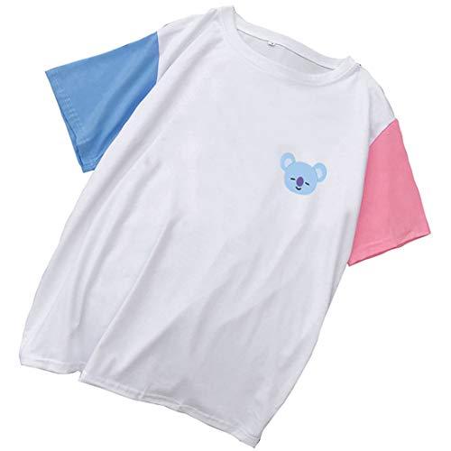 Silver Basic Camiseta de Moda de Mujer BTS Lindos Estampados de Animales Camisetas de Manga Corta Blanco-3 M…