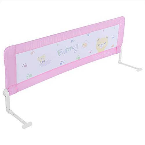 Bettgitter, klappbar, 180 cm, Bettgitter für Babys, Schlafschutz des Kindes (Rosa)