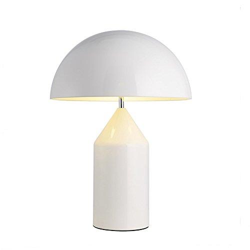 Skandinavische Postmoderne Schmiedeeisen Tischlampe Plating Gold Kreative Pilz Schreibtischlampe Augenschutz Leselampe Für Wohnzimmer Studie Schlafzimmer, Φ25cm H35cm E27 (Color : Weiß)