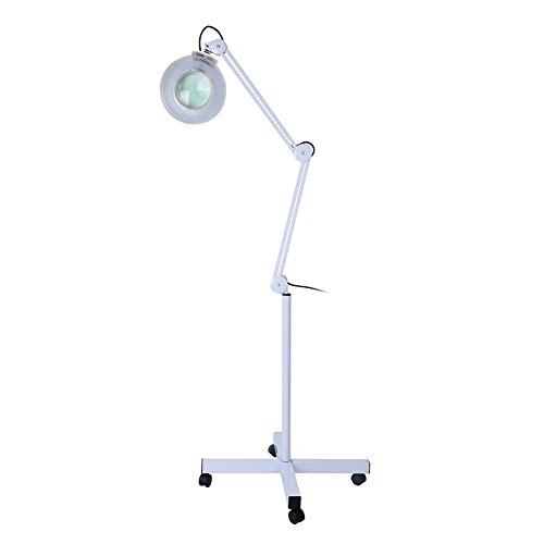 lámpara lupa Luz LED, ajustable Giratorio Beauty Cosmetic Maquillaje lupa de 5X Lighted lámpara de mesa LED Pie Estética con iluminación con lupa Salón SPA 220–240V