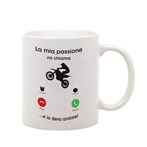 t-shirteria Tazza Mug in Ceramica Mestieri Motocross La mia Passione Mi Chiama e io Devo Andare - Sport - Gadget Divertente - Idea Regalo