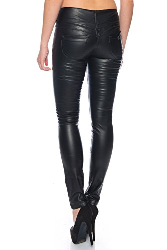 BENK Damen Leder Optik Hose Legging Leggins Wetlook Lack Jeans Jegging (Schwarz, 38)
