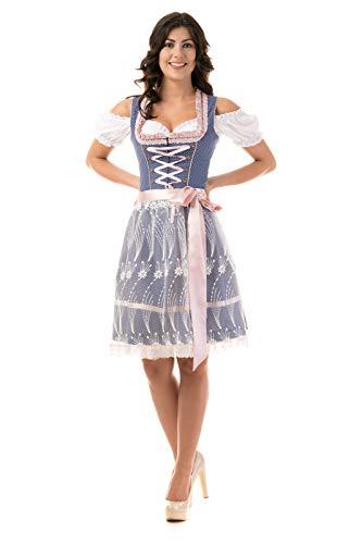 Trachtl.de Dirndl Trachtenkleid Damen Nicole IN BLAU/ROSA 3.TLG 34