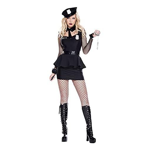 Disfraz polica 7 Piezas Conjunto Accesorios Set Halloween Fancy Vestido Adulto para Cop SWAT FBI Halloween Party Dress Up (Sombrero de la polica, Silbato, Corbata, Esposas Juguete .),B