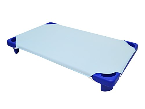 American Baby Company 100% Natural Cotton Percale Toddler Daycare/Pre-School Cot Sheet, Blue, 23 x 40, Soft Breathable, for Boys and Girls