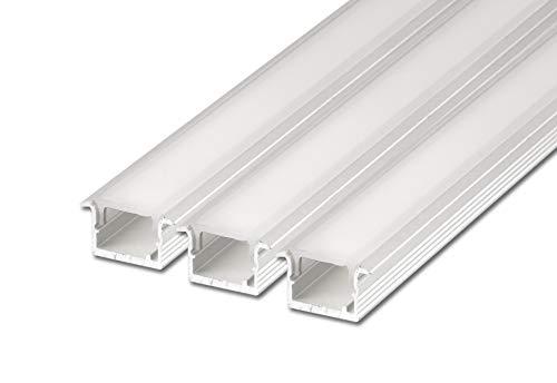 3 x 2 m FUCHS Perfil de LED Perfil de instalación estrecha (15,7 x 10 mm) Tira de LED para tiras de LED, aluminio anodizado plata acero inoxidable incl. cubierta (blanco lechoso)