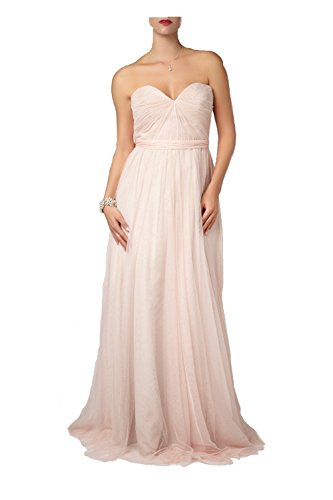Mascara Peach Pleated Two Tone Strapless Gown 181083 UK 10 (US 6)