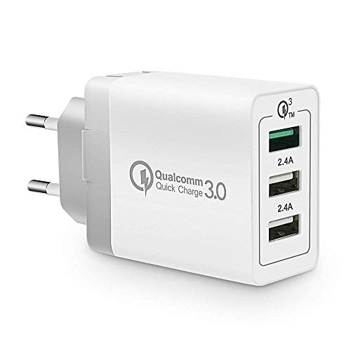 KONKY Cargador USB Multipuerto Quick Charge 3.0 30W Enchufe USB [Qualcomm Certificado] Cargador Rapido Cargador Movil para Samsung S9/Note 9/S8/iPhone, LG, Nexus, HTC, iPad y Más